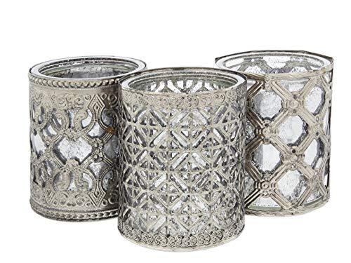 4h Antik (Lucky Winner Kerzenhalter, Antik-Stil, rund, Metall und Glas, 10,2 cm, 3 Stück)