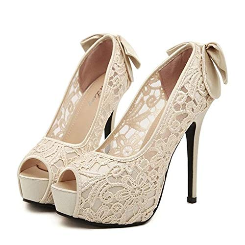 (Sandalen für Frauen, Platform Shoes Women Fish Mouth Toe 12cms Stiletto Heels mit Bow Slip On Sandalen,Beige,35EU)