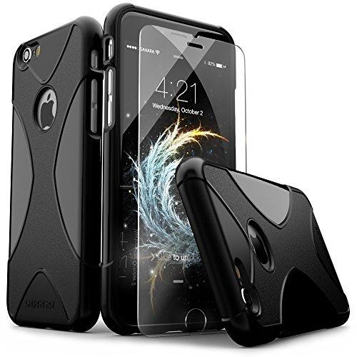 iPhone 6 Hülle, (Schwarz) X-Case SaharaCase Schutz Kit Paket mit Null Schaden [ZeroDamage gehärtetes Glas Bildschirmschutz] Robuster Schutz Anti-Rutsch-Griffigkeit [Stoß sicherer Puffer] Schlanke Passform (Iphone 6 Att 16gb Verwendet)