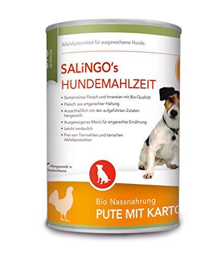 SALiNGO Bio Hundefutter nass, Pute mit Kartoffeln und Spinat, getreidefrei (6x400g)