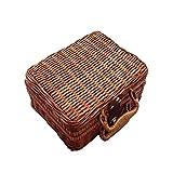 SODIAL Bolso de senora Canton de mano puro Bolsa de almacenamiento Accesorios bolsa de viaje de bambu Cesta de rota vintage Arte de la literatura china