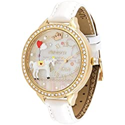 White Horse Girl's Quartz Casual Wrist Watches Polymer Clay Material White Real Leather Strap (Model:WD-282)