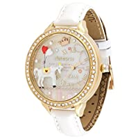 White Horse Girl's Quartz Dress Wrist Watches 3D Polymer Clay White Real Leather Strap Golden Case (Model:WD-282)