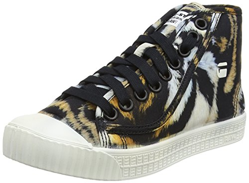 g star schuhe damen G-STAR RAW Damen Rovulc Mid AOP Hohe Sneaker, Mehrfarbig (White/Roast/Black 9088), 39 EU
