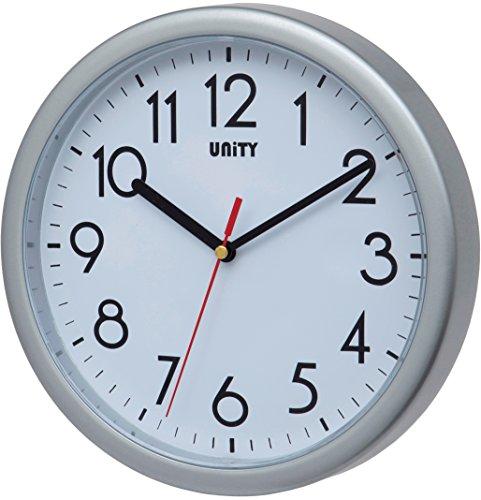 Unity Hastings - Reloj de Pared, 22 cm, silencioso, Moderno, plástico, Plateado, 22 x 22 x 5 cm