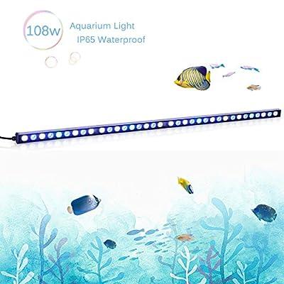 TOPLANET Led Aquarium Light 108w Éclairage Aquarium Nano Bleu Lumière Imperméable IP65 115cm pour Corail Fish