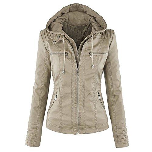 LooBoo Jackets Mujer Capucha Cremallera Jackets Chaquetas Cuero Moto Cazadoras Imitacion Piel...