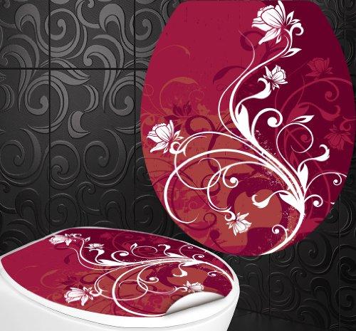 StickerProfis WC Sitz Aufkleber ROSE Design Folie Dekor für Toilettendeckel Klodeckel incl. 2 Fliesenaufkleber