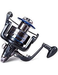 Huntvp Carretes Suaves de pesca giratorios con 5.1:1 Relación de Transmisión Cuerpo de Metal Mango Plegable 12+1BB Agua Dulce y Agua Salada Intercambiable Mango Plegable Carretes de Pesca Giratorios Azul