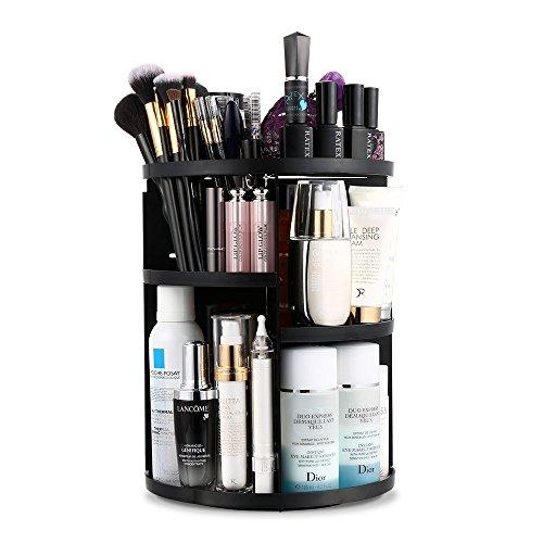 Jerrybox 360 Grad Drehbarer Make up Organizer Einstellbarer Kosmetikorganizer Multifunktionale Aufbewahrungsbox, Großer Stauraum, 7 Verstellbare Ebenen, Passend für Schminke, Gesichtswasser, Cremes, Kosmetikpinsel und Lippenstifte, Schwarz