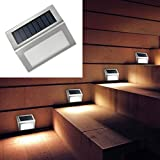 STARE89 Solar-Energie-LED-Lampe, Edelstahl, IP55, wasserdicht, für den Außenbereich, Gartenlampe, Hoflampe, Zaunlampe, Wandleuchte, Treppenlampe, 100 * 85 * 25mm