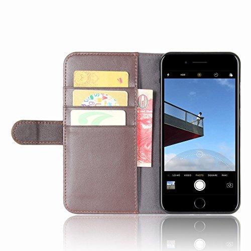 CaseforYou Hülle iPhone 7 Plus Portemonnaie Schalen Gehäuse Genuine Leather Wallet Case mit Flip Stand Function und Card Slots Magnetic Closure Cover Taschen Schutzhülle für iPhone 7 Plus (Black) Braun