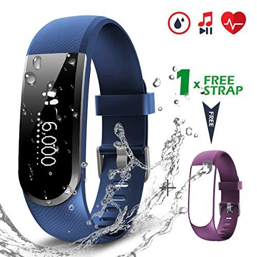 CHEREEKI Pulsera Actividad [versión Mejorada] con Control de frecuencia cardíaca podómetro Monitor, Smartwatch Pulsera Inteligente de sueño Compatible con Sistema Android e iOS Smartphones (Azul)