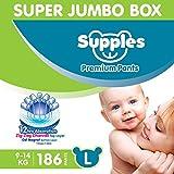 Supples Baby Diaper Pants L Pack of 3 Super Jumbo Box (186 Piece)