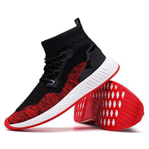 Herren LaufschuheABSOAR Mode Männer Hohe Hilfe Weiche Sohle Laufschuhe Gym Schuhe Socken Schuhe 2018 Sommer Sneaker Mode Rund Zeh Flach Freizeitschuhe (42, Rot)