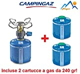 ALTIGASI FORNELLO A Gas da Campeggio BLEUET Micro Plus - Marchio CAMPINGAZ + 2 CARTUCCE A Gas CV 300 con Sistema Removibile - Prodotto Ideale per Campeggio