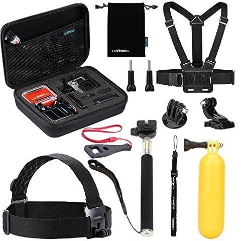LuxeBell Kit d'accessoires Compatibles pour GoPro Hero 5 Hero 4 Hero 3+ Hero 3 Hero 2 SJ4000 SJ5000 Lightdow/Xiaomi Yi/WiMiUS/DBPOWER/Campark de l'appareil photo numérique(10 en 1)