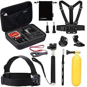 Luxebell Accessori Kit per Gopro Hero 5 4 3+ 3 2 1 Black Silver, Macchina Fotografica Accessori per SJCAM SJ4000/SJ5000/SJ6000/DBPOWER/WiMiUS/XiaoMi Yi/TecTecTec (10-in-1)