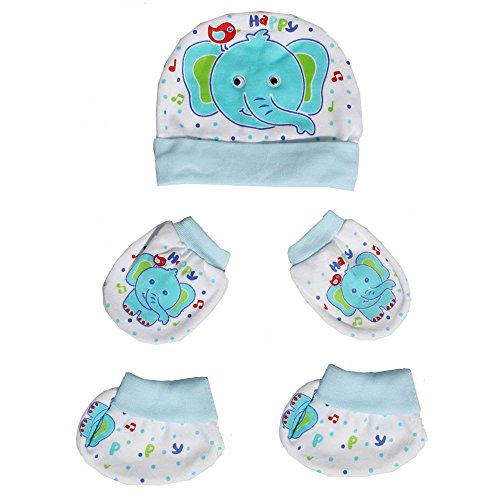 Bubbles Baby Caps Mitten Booties Set for New Born - Assorted Design (BLUE)