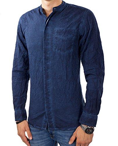 JACK & JONES Herren Freizeithemd jorCRUSHED Shirt Langarm Knitteroptik Slim Fit Navy Blazer