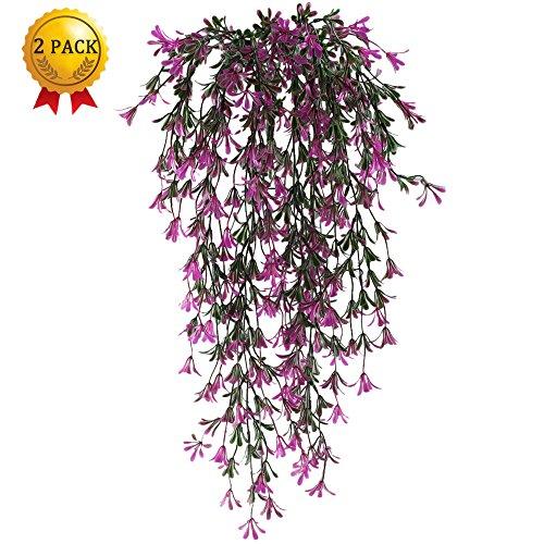 Nahuaa Künstliche Hängepflanzen 2 Stücke kunstpflanzen für Draußen Künstliche Aufhängen Vine Pflanzen plastikpflanzen für Hochzeit Wand Balkon Garten Küche Dekor