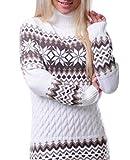 LvRao Donna Manica lunga Collo alto Maglione a maglia Tops Christmas Snowflake Maglieria Sweater Maglioni Pullover Mini Abito da maglia (Bianca, CN XL)