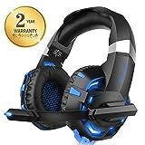 Xbox One Headset für PS4, Willnorn K2 Gaming Headset mit Mikrofon Geräuschunterdrückung Over-Ear Kopfhörer für PC, Controller, Laptop, LED-Licht, Stereo-Sound mit Bass