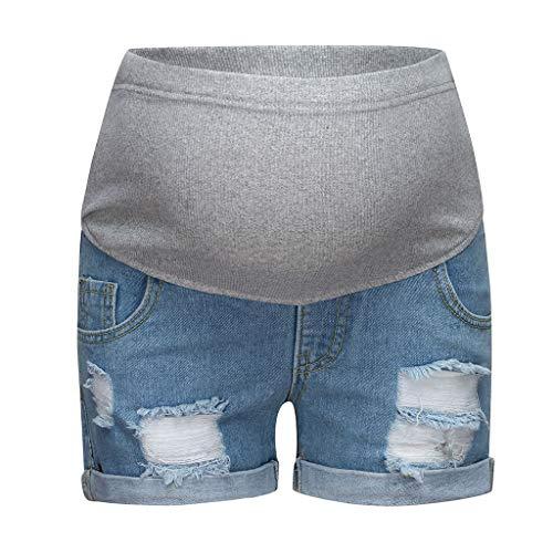 Damen Umstandsmode Schwangere Jeans Umstandsshorts Kurze Jeanshose Leggings Mutterschaft Shorts Skinny Umstandsjeans Destroyed Umstandshose Elastische Schwangerschafts Hose