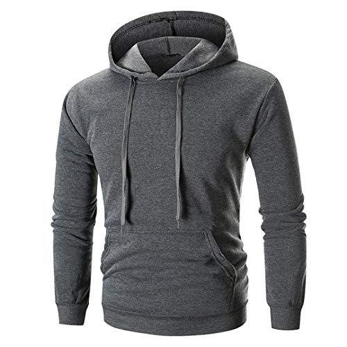 ITISME Männer Tops Herren Long Sleeve Solid Hoodie Hooded Sweatshirt Top Tee Outwear BlouseHerren Basic T-Shirt mit Einer Dekorativen Knopfleiste und Kleinen Druck -