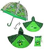 Unbekannt 3 TLG. Set: Regenschirm + Regenponcho / Regencape - Frosch - Gr. 104 - 128 / 3 bis 6 Jahre - Kinderschirm transparent - Kinder Stockschirm Regenschirm - für J..