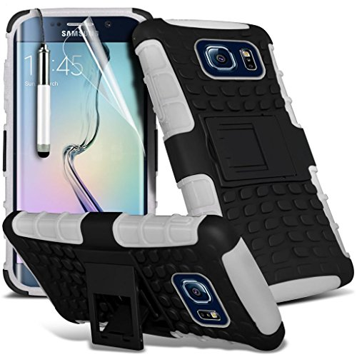 Samsung Galaxy S6 edge+ Étui Housse + cas [galaxie S6 bord Plus] Phone Holder Universal Support de voiture tableau de bord et pare-brise pour iPhone yi -Tronixs Shock proof + Pen (White)
