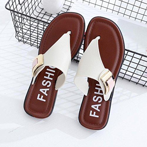 Ouneed® Femme Tongs Mules Plate a ouvert bout Sandale de Casual Blanc
