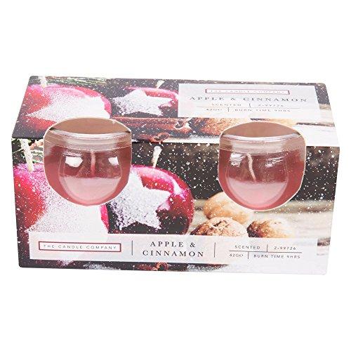 Candele di natale in vetro–confezione da 2 apple & cinnamon