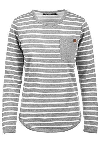 BlendShe Christin Damen Sweatshirt Pullover Sweater Mit Rundhalsausschnitt Und Fleece-Innenseite, Größe:S, Farbe:Zink Mix (70815)