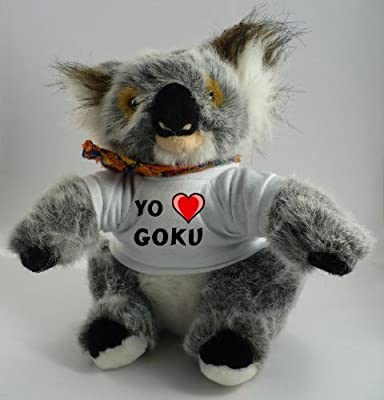 Koala personalizada de peluche (juguete) con Amo Goku en la camiseta (nombre de pila/apellido/apodo) por SHOPZEUS