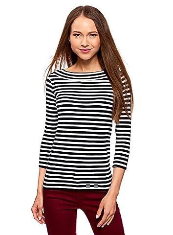 oodji Collection Femme T-Shirt sans Étiquette avec Manches ¾, Noir, FR 36 / XS