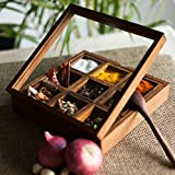 #9: ExclusiveLane Wooden Table Top Kitchen Decorative Spice Box Set (20.3 cm x 20.3 cm x 5.0 cm, Brown)