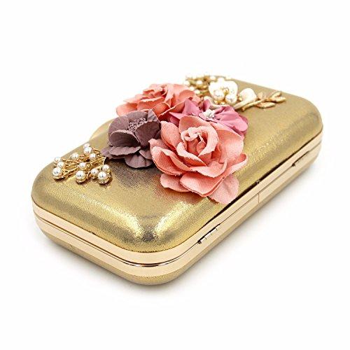Hohe Qualität, Dekorativen, Blumen, Essen, Tasche, Hand - Tasche, Pearl, Diamond, Abendessen Tasche Golden