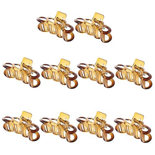 MagiDeal Lot de 10pcs Pince Crabe à Cheveux Claw Clip Accessoire Cheveux pour Femme - Marron