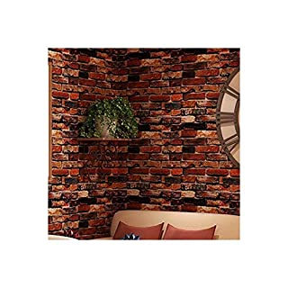 JLCorp Waterproof Self-Adhesive Wallpaper Rust Red Brown Brick Pattern Peel-Stick Wallpaper Wall Stickers Door Stickers Counter Top Stickers