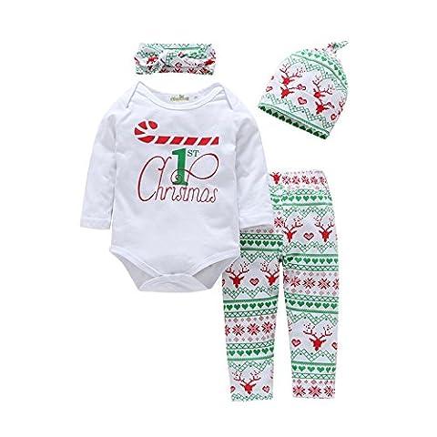 Babykleidung,GUT® 4pcs Kleinkind Baby Junge Mädchen Kleidung Set Hoodie Tops + Pants+ Headband+Hat Christams