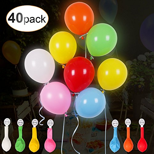 (40 LED leuchtende bunte Luftballons mit farbigem Band, 24 Stunden Leuchtdauer, für Party, Geburtstag, Hochzeit, Festival, Weihnachten, von AGPTEK Q01, 7 Farben)
