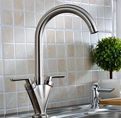 Wasserhahn Spültischarmatur Waschtisch Doppelgriff Spülbecken Wasserhahn Nickel Pinsel Swivel Badezimmer Badewanne Mischbatterie (Nickel Badewanne Wasserhahn Pinsel)