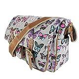 Miss Lulu Ladies Butterfly Canvas Satchel Bag Grey L1157B GY