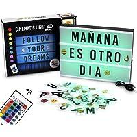 Garcon Light - Caja de Luz A4 de Colores con 155 Letras y Emojis, Mando a Distancia y Conector USB | 16 Colores a Elegir con Intensidades y Programas Diferentes | Cartel Luminoso LED con Cambio de Color Ideal para Decorar o Regalar | Letra Ñ y Ç Incluidas