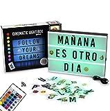 Caja de Luz A4 de Colores con 155 Letras y Emojis, Mando a Distancia y USB | 16 Colores a Elegir con Intensidades y Programas Diferentes | Cartel Luminoso LED con Cambio de Color | Con Letras Ñ y Ç
