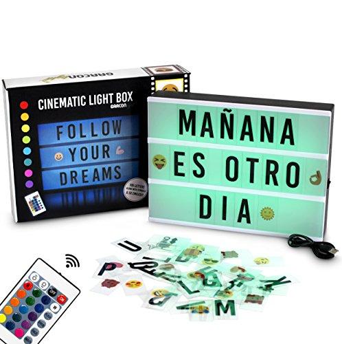 Caja de Luz A4 de Colores con 155 Letras y Emojis, Mando a Distancia y USB   16 Colores a Elegir con Intensidades y Programas Diferentes   Cartel Luminoso LED con Cambio de Color   Con Letras Ñ y Ç
