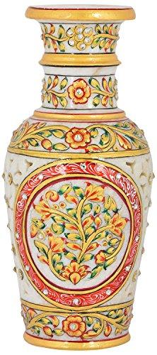 Saudeep India Trading Corporation Marble Flower Pot With Jali Cut (23 cm)