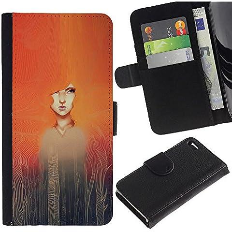 A-type (Watercolor Painting Girl Redhead) Colorida Impresión Funda Cuero Monedero Caja Bolsa Cubierta Caja Piel Card Slots Para Apple Apple iPhone 4 / iPhone