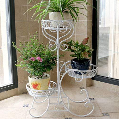 IU Desert Rose Étagère de balcon Support de pot de fleur européen de salon de balcon de Multi-Torey de fer (couleur: noir, taille: 48 * 24 * 68cm) (Couleur : White, Taille : 48 * 24 * 68cm)